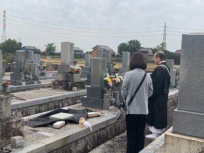 上之郷墓地にて墓じまい